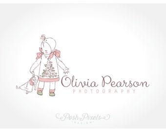 Diseño de logotipo (preconfeccionados) logo de logo, Logo de la muñeca, dibujado a mano del bebé niño Logo, fotografía Logo, logo de Boutique, logo Whimsical, lindo logo