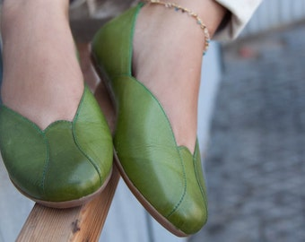 Rose, Leather Ballerina Shoes, Leather flats, Flat Shoes, Women's Shoes, Winter Shoes, Autoumn , Free Shipping