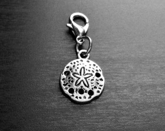Sand Dollar Dangle Charm for Floating Lockets or Zipper Pull-Antique Silver-Gift Idea