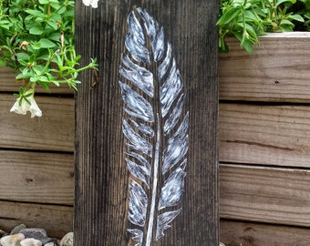 Feather Sign, Black and White Feather Sign, Rustic Feather Sign Sign, Feather Home Decor, Feather Wall Art, Boho Art, Wood Signs, Home Decor