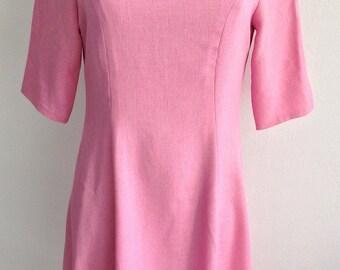 Vintage 60S Women's Half Sleeve Pink Boat Neck Dress
