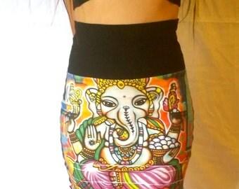 Organic cotton graffiti Ganesh high waisted mini skirt