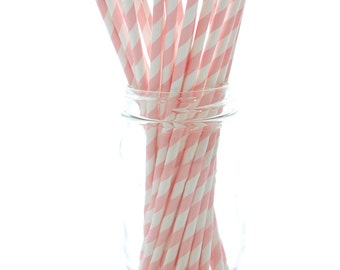 Pink Paper Straws, Long Drinking Straws, Eco Friendly Straws, Paper Party Straws, 25 Pack - Pink Stripe Straws