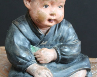 Vintage Japanese Ceramic Sculpture of a Child, Circa Early 20th Century