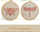 Embroidery kit pair, DIY embroidery patterns, modern hand embroidery patterns, earth tones, modern hoop art, insect embroidery patterns