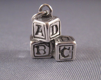 ABC                            Baby Blocks .925 Sterling Silver Charm