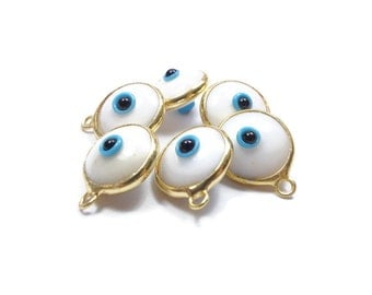 Evil Eye Charm, Glass, White Evil Eye Gold Pendant, 5 Pieces  Luster, 24K Gold Plated Charm  - EE001