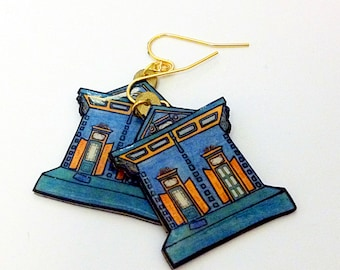 New Orleans Shotgun House in Blue and Teal – Kerlerec St. Earrings