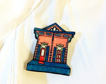 New Orleans Shotgun House in Watermelon and Teal – Orleans Ave. Pin