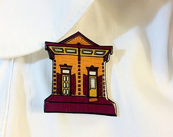 New Orleans Shotgun House in Plum and Burnt Orange –  Chartres St. Pin