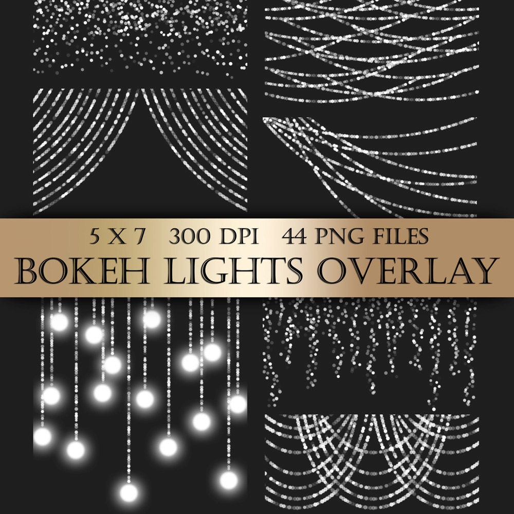 Bokeh String Lights Digital Clipart Overlay silver bunting