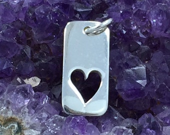 Sterling Silver Heart Tag Charm, Open Heart Tag, Silver Heart Charm, Silver Heart Pendant, Open Heart Charm, Open Heart Pendant, PS01404
