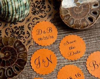 100+ Orange Save the Date Envelope seals, wedding stickers invitations. Printed Custom Scalloped Round wedding Favour stickers. Matt