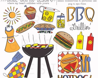 BBQ Clipart Set Burger And HotDog ClipArt CLIPART Small Commercial Use