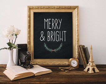 Christmas Print 8x10 Instant Download Merry & Bright Christmas Printable Art Christmas Decor Holiday Wall Art Christmas Decoration Winter