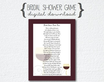 Wedding Shower Pass The Gift Poem : wine theme bridal shower poem points game poem 6 00 hartzstrings