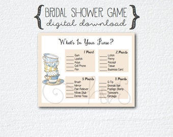 Tea Party Coffee Theme Bridal Shower Game - What's In Your Purse?