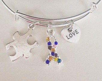 Autism awareness Adjustable Bangle