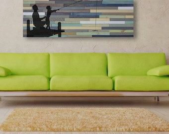 Reclaimed Barnwood Wall Art - Father and Son Fishing