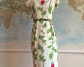 RESERVED! Late 1950s rose print wiggle dress