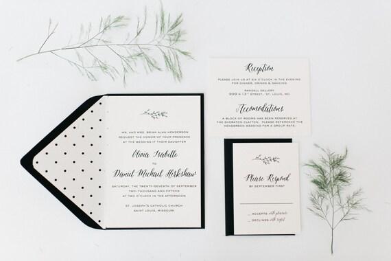 olivia wedding invitation sample set  -  winery, olive branch, black & white  // lola louie paperie