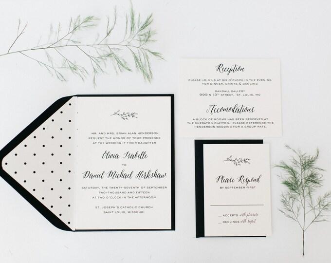 olivia wedding invitation sample set  //  winery olive branch laurel black white neutral calligraphy romantic modern invite