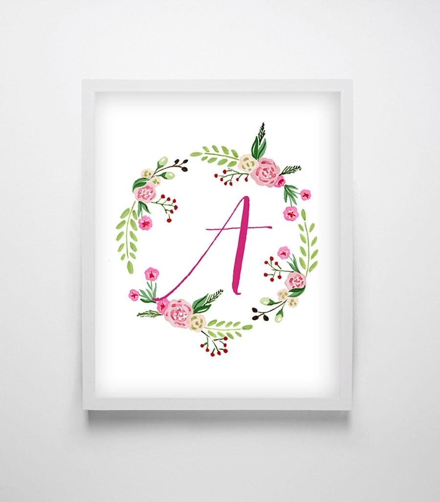 Shop Floral Monograms At Littlebrownnest Etsy Com: Floral Monogram Printable Monogram Letter Nursery Monogram