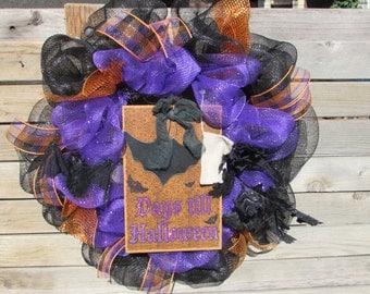 "24"" Halloween Wreath Days Till Halloween Wreath Bat Wreath Chalkboard Halloween Wreath Bat Chalkboard Wreath Halloween Deco Mesh Wreath"
