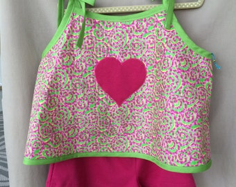 Size 6 Year Old, Girls Shorts, Girls Top, Spaghetti Strap Top, Girls Outfit, Summer Outfit, Swirl Design, Heart Motif, Free Shipping