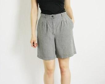 Vintage 80's 90's Black & White Linen Blend Gingham Plaid Checked High Waisted Shorts - Medium