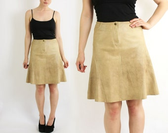 Vintage 70's 80's Beige Extremely Soft Real Leather Midi A-Line Skirt - Small to Medium