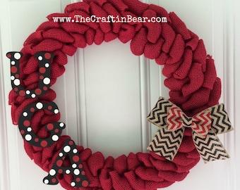University of Georgia burlap wreath w/ polka dot UGA letters and chevron double bow - UGA - Georgia bulldogs- Dawgs