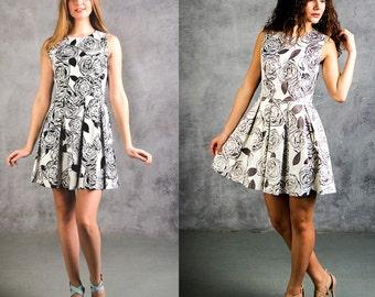 SUMMER SALE Floral Sleeveless summer mini dress/ Blue and white summer mini dress, Abstract print summer pleated skirt short dress