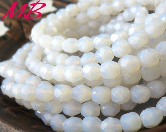 25 6mm Lilac Opalite, Faceted Glass, Opal Czech Fire Polished