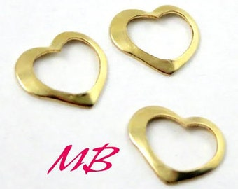 14K Gold-filled Floating Heart, Open Heart Connector, Tiny Gold Heart Charm, 8.4x7mm Heart Pendant