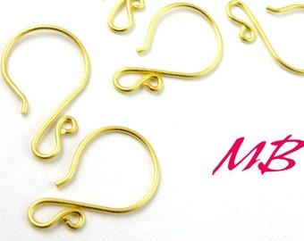 4 pcs Fancy Ear Wires, Vermeil Earring Hooks, Gold over Sterling Silver Round Ear Wires
