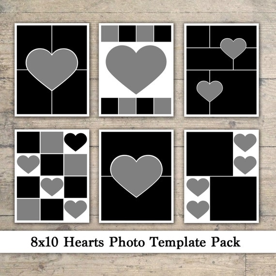 8x10 photo template pack heart templates photo collage scrapbook templates photography. Black Bedroom Furniture Sets. Home Design Ideas