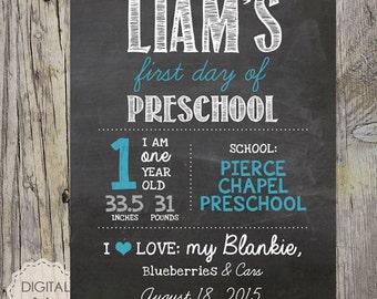 Boys first day of preschool sign - personalized preschool photo prop - blue Chalkboard Sign - school name - DIGITAL FILE!
