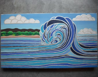 Colorful Cartoony Tidal Wave Painting