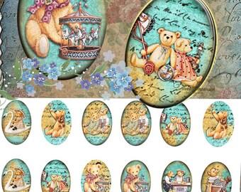 Teddy Bear 18x25 mm - Images 4x6 paper Digital Collage Sheet Printable Download for pendants bezel magnets scrapbooking paper craft