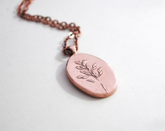 Sprig of grass seeds copper pendant necklace *nature-inspired jewelry*