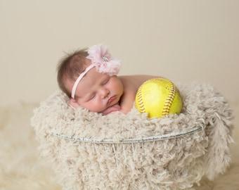 Shabby Chic Flower Newborn Headband - Pink Flower Headband - White Flower Headband