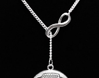 Infinity Football Gift Necklace, Mom Mother, Sports Y Lariat Necklace