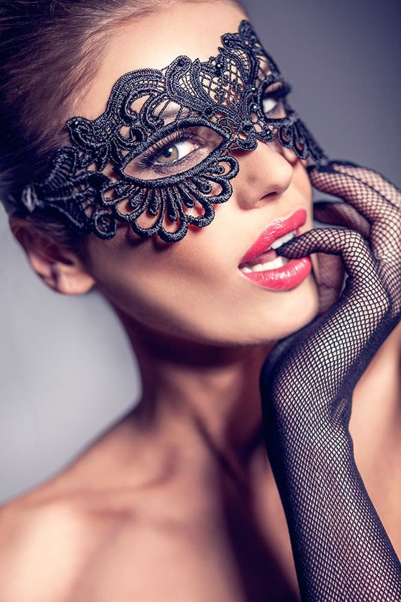 Halloween Mask Masquerade Mask Ball Mask Black Lace Mask Phantom of the Opera Mask SHIPPING from NYC!