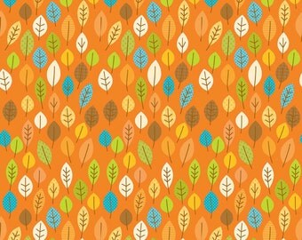 Orange Leaf Fabric, Riley Blake C4032 Orange, Happy Harvest, Doodlebug Designs, Orange Fall Quilt Fabric, Apron Fabric, Cotton