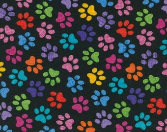 Colorful Dog Paw Fabric, Timeless Treasures Gail C3928 Paw Print Fabric, Dog Fabric, Animal Paw Quilt Fabric, Cotton Pawprint Fabric