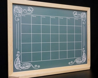 green artisan chalkboard framed wall calendar dry erase board whiteboard command center monthly organizer perpetual chalkboard calendar