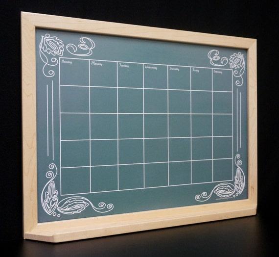 Chalkboard Calendar Framed : Green artisan chalkboard framed wall calendar dry