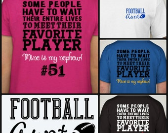 New & Hot Football Aunt t-shirt  Proud Football Auntie Shirt Sports Fan Cheer customize with YOUR TEAM COLORS!