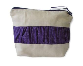 Zip Pouch | Cosmetic Bag | Toiletry Organiser| Travel Bag |medium Zip Pouch | cosmetic case, linen with purple ruffle
